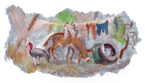 BACKYARD  Gouache on maté ( handmade bark paper)   33 x 25 cm   2005