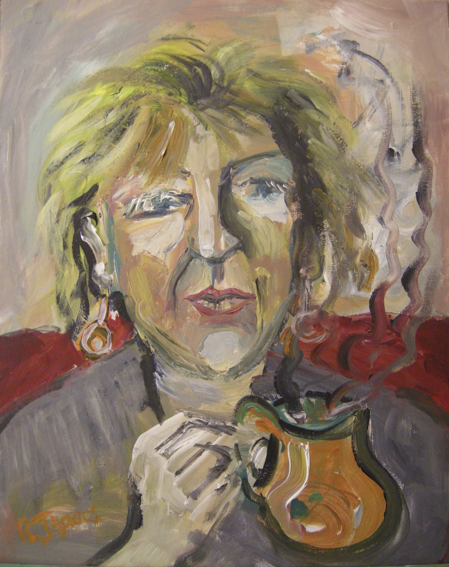 A NATTER AND A CUPPA  Acrylic on Canvass Board | 40 x 50 cm | 2012