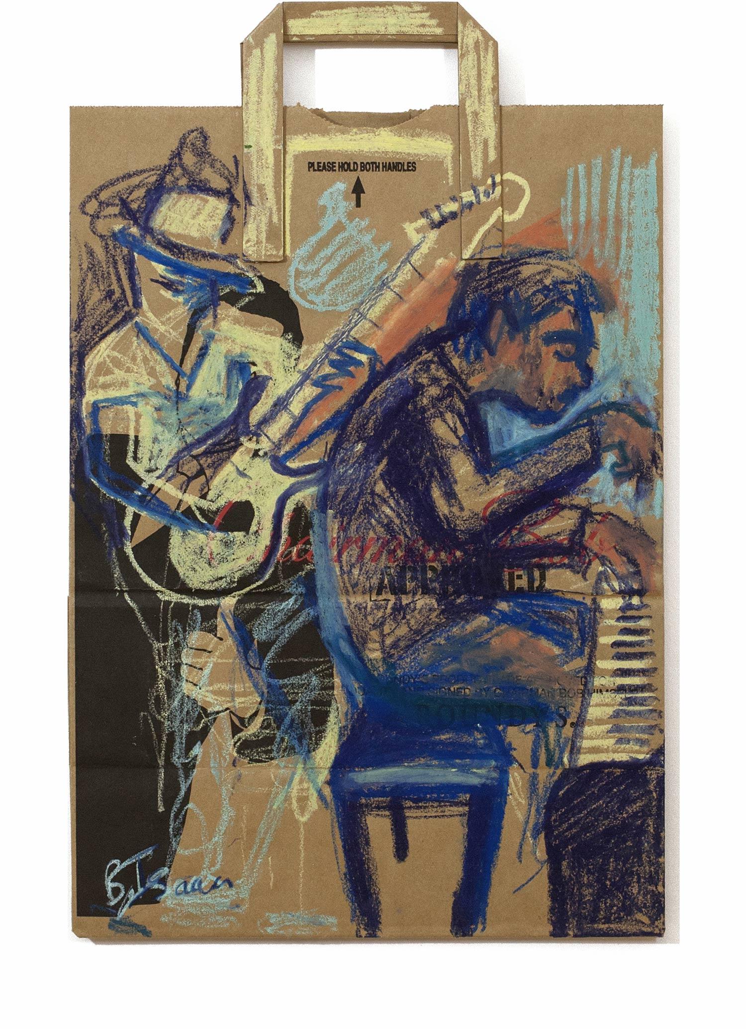 JAZZBAG JAM  Oil Pastel on paper bag | 30 x 48 cm |2015  SOLD (UK)