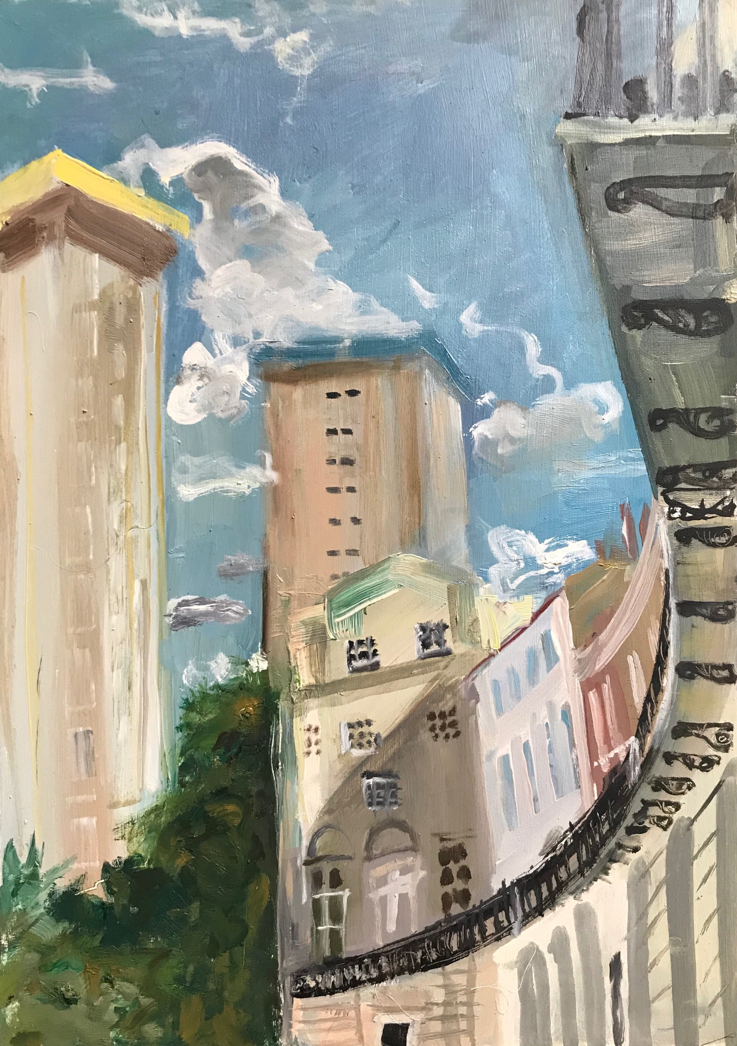 VIEW OF SILVERDALE FROM MORNINGTON CRESCENT  Oil on Wood | 30 x 42 cm | 2018  £300.00