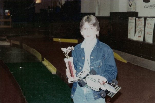 Winning an r/c race at Race World in Pendleton, Indiana