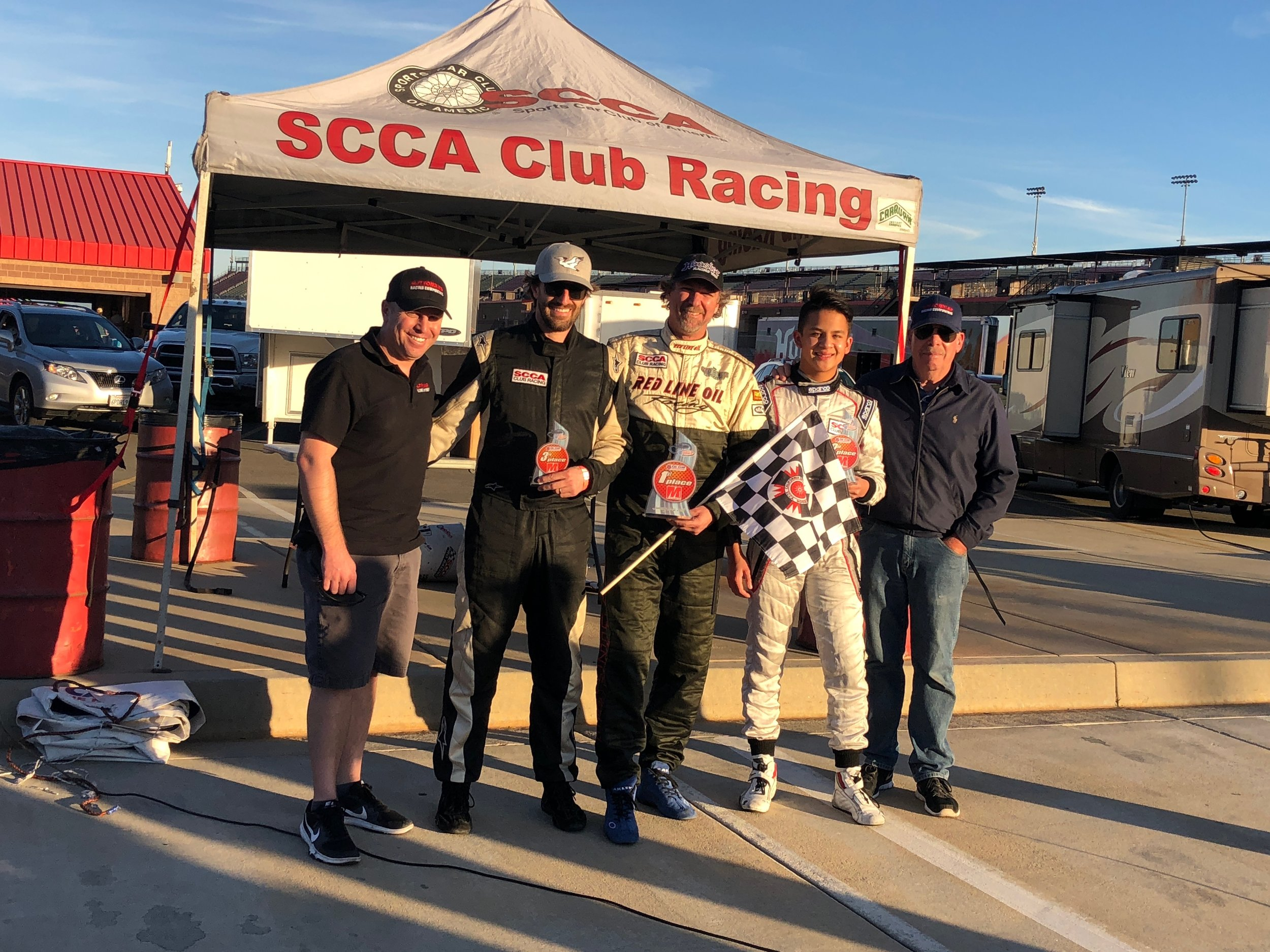 Saturday Piper podium sweep. Doug Learned Jr, 3rd place Brad Hayes, 1st place Skip Streets, 2nd place Nicky Hays, Doug Learned Sr
