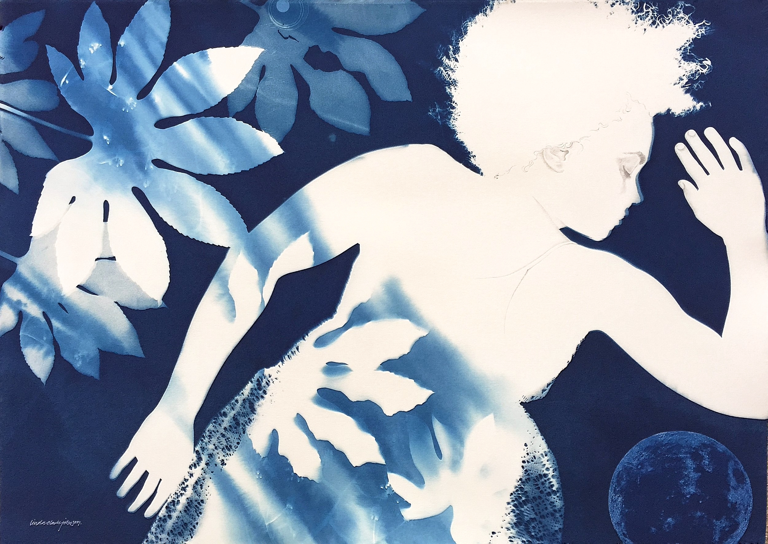 Between Dreaming and Dawn  | 41 x 29.5 | cyanotype double exposure, collage and graphite