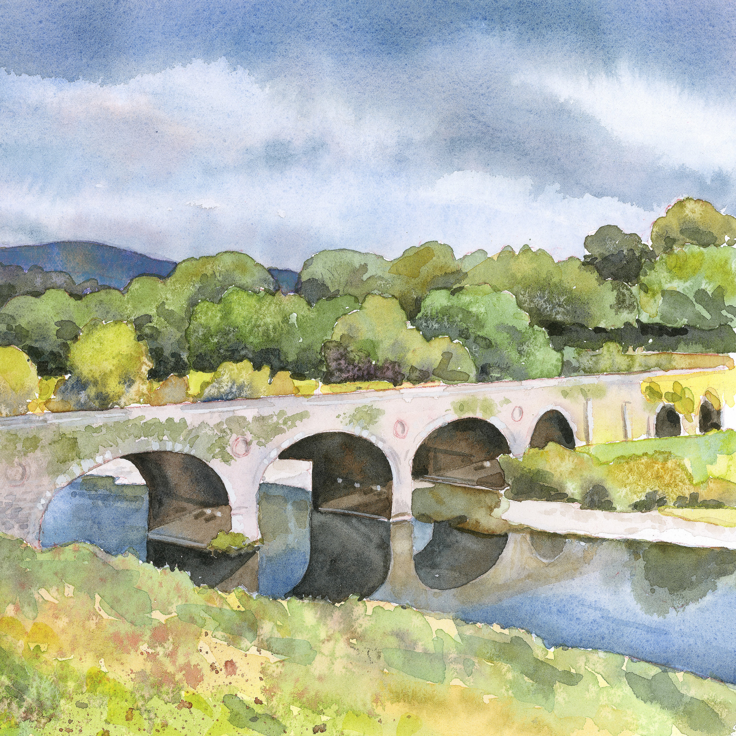 Crossing the River Nore   archival print   image 8.5 x 8.5   $50