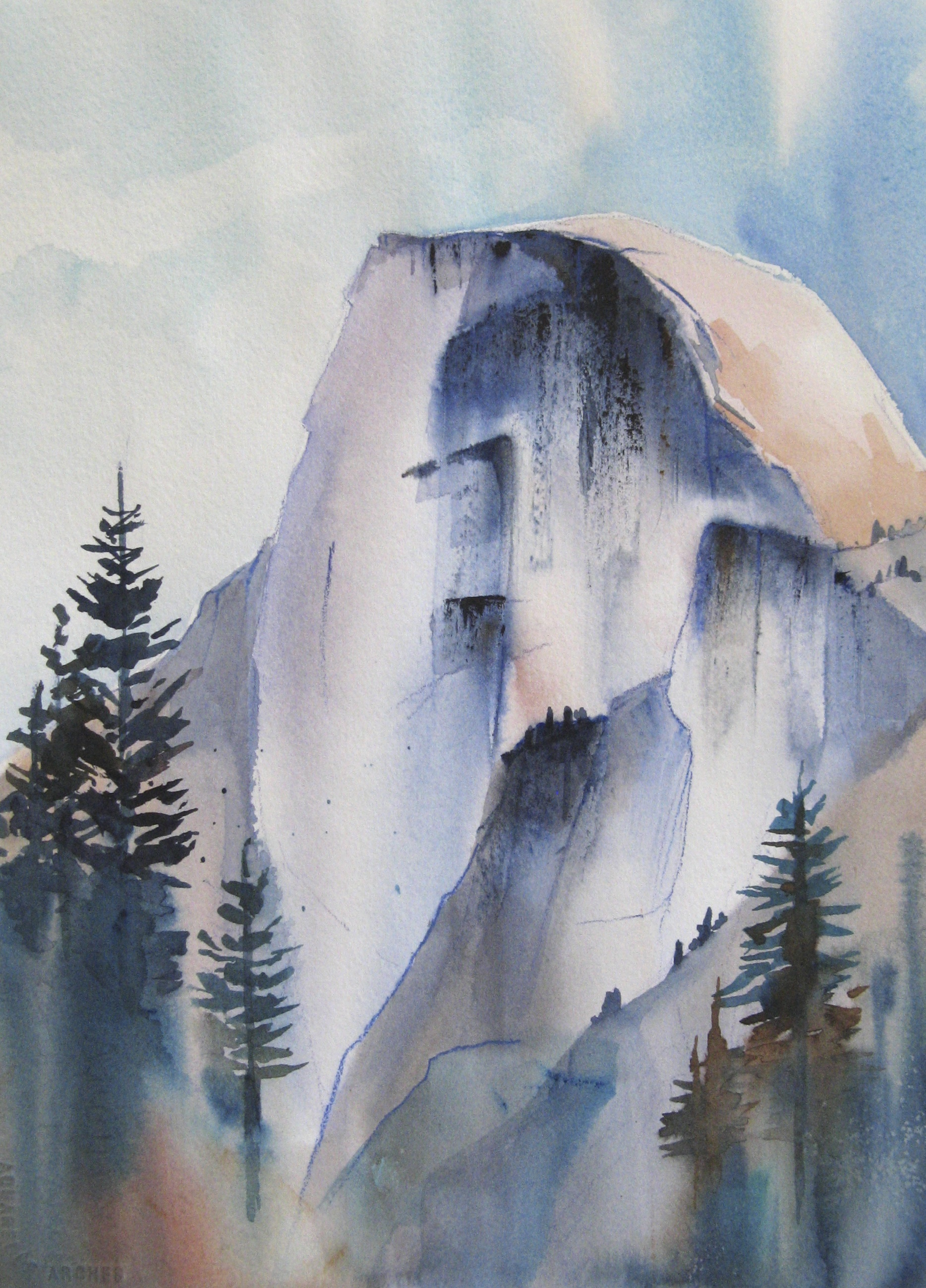 Half Dome in Blue  | watercolor; prints available