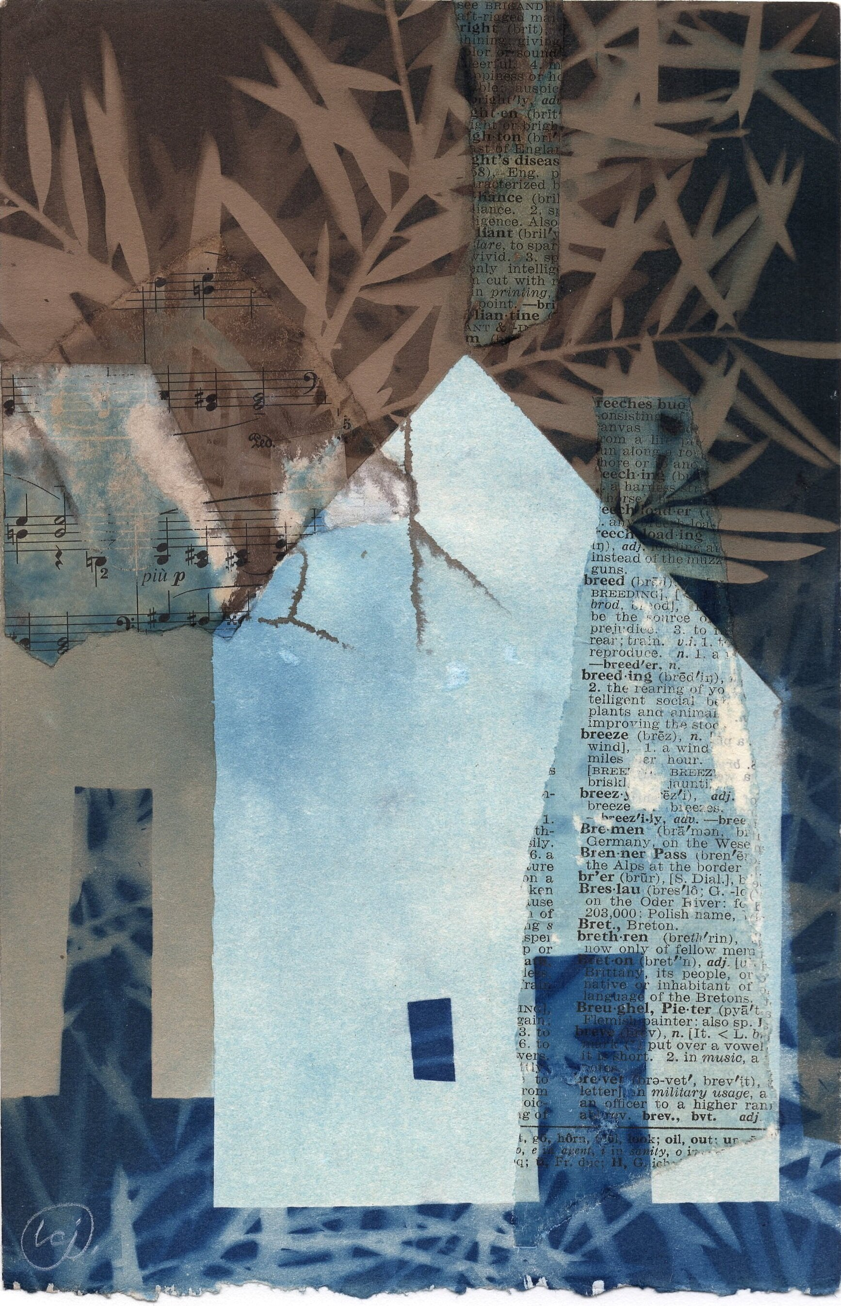 A Few Small Repairs  6 x 9 | toned cyanotype and collage