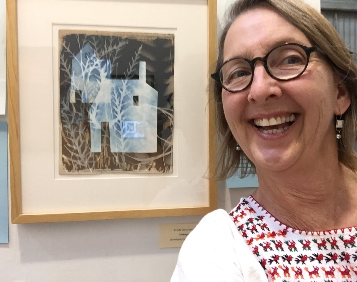 Here I am with my cyanotype piece  Entangled  at the Shelters Auction