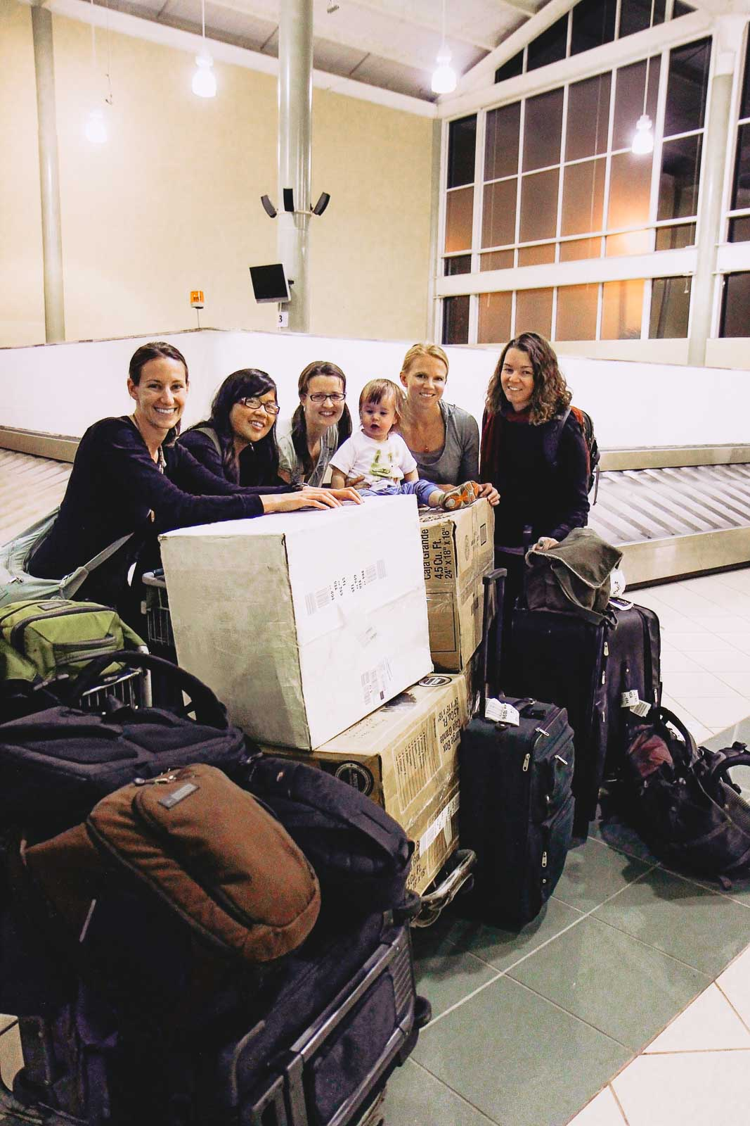 At airport in the Dominican, with donated supplies