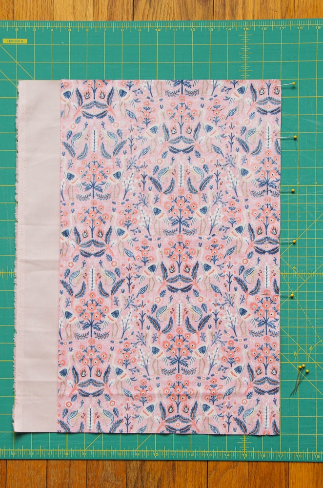 Back Envelope Right: align Fabric A over Fabric B, right sides together and sew.