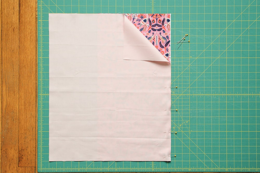 Back Envelope Left: align Fabric B over Fabric A, right sides together and sew.