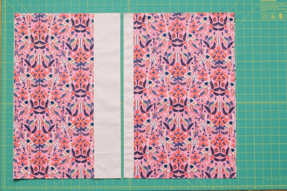 """Back Envelope pieces ready to be attached to the main pocket piece. These will overlap (right over left) by 6"""" when sewn up."""