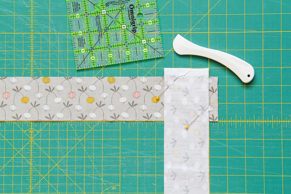 Step 3: The two strips prepped for sewing.