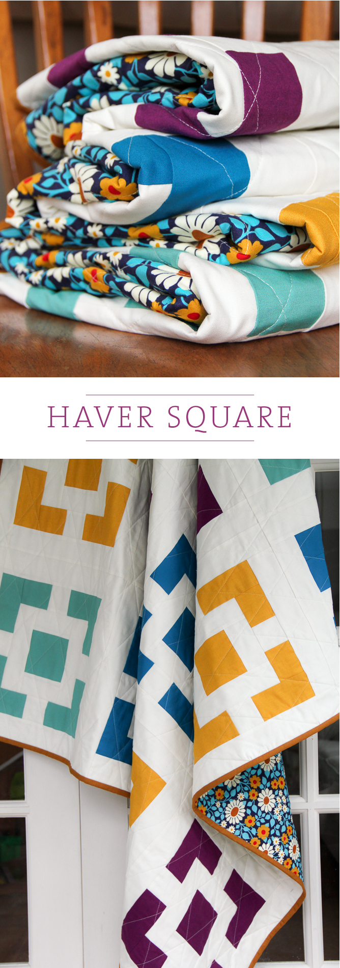 Haver Square, a mid-century inspired quilt | Village Bound Quilts