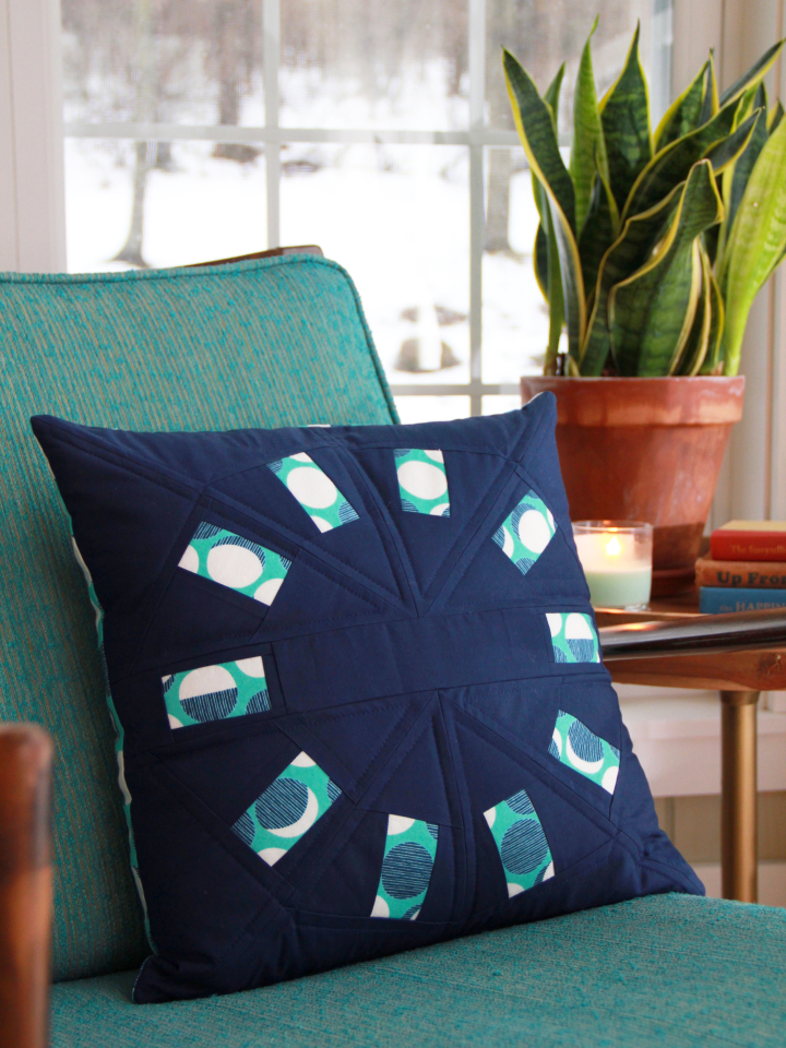 This pillow is stuffed with a form made entirely from scraps! Pattern is modified  Sew Many Colors
