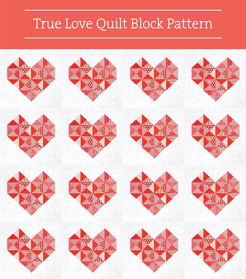 Valentine DIY Round Up: True Love Quilt Block. villageboundquilts.com