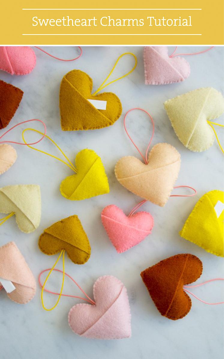 Valentine DIY Round Up:Sweetheart Charms. villageboundquilts.com