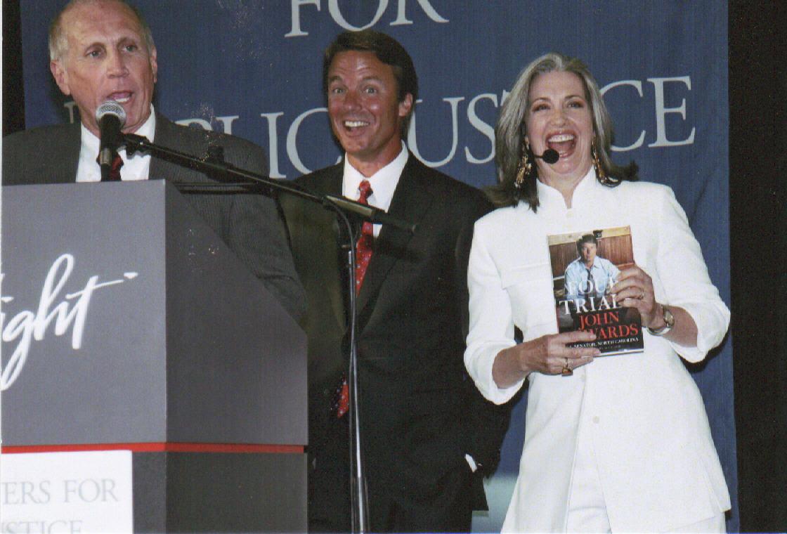 Senator John Edwards with April Brown Auctioneer