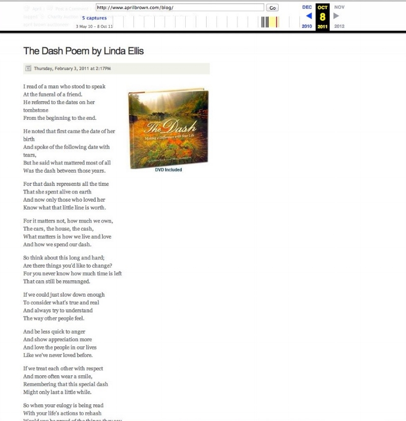 The Dash Poem as Posted on April Brown's Blog