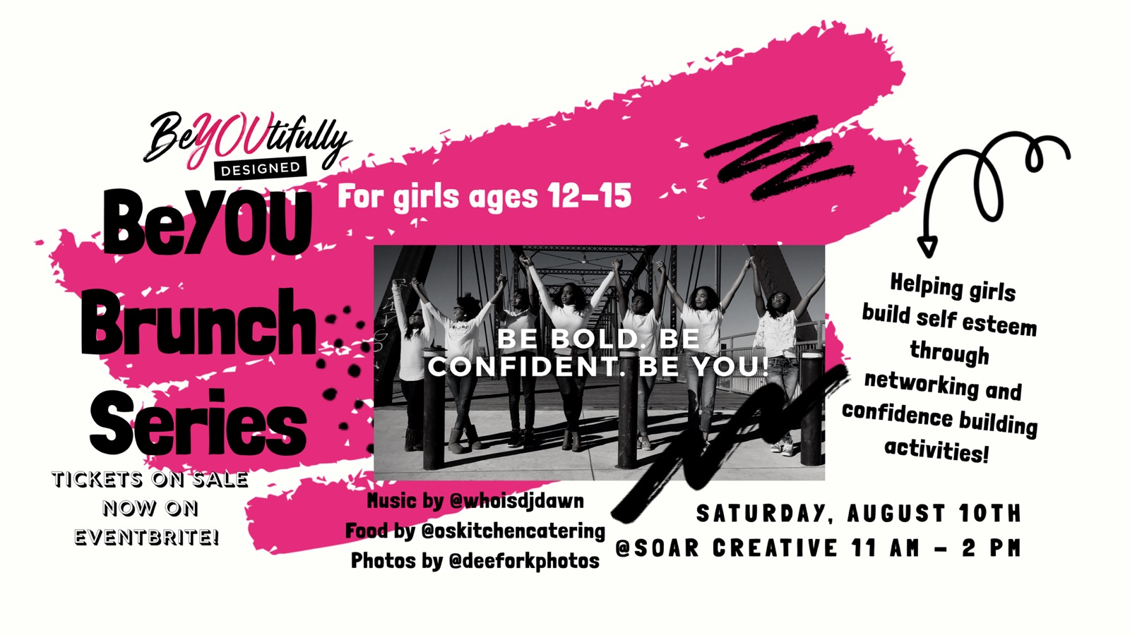 """- Join us for an amazing experience where participants will have the opportunity to take part in a variety of self-enhancing activities such as goal setting, vision boarding, and networking with other like-minded girls throughout this city. Participants will also hear from a number of women entrepreneurs and leaders while enjoying delicious brunch bites prepared by O's Kitchen Catering, sounds by DJ Dawn, and photos by Danielle Fork.Our corporate sponsors include Designed Essentials, Taliah Waajid, Samsung, Elite Wellness and Nappy and Happy. You don't want to miss this event!! Tickets are limited. For more information about BeYOUtifully Designed visit www.beyoutifullydesigned.org. To learn more about vendor, sponsorship, or volunteer opportunities, email hello@beyoutifullydesigned.org.*To register for the event search for """"BeYOUtifully Designed BeYOU Brunch"""" on Event Brite."""