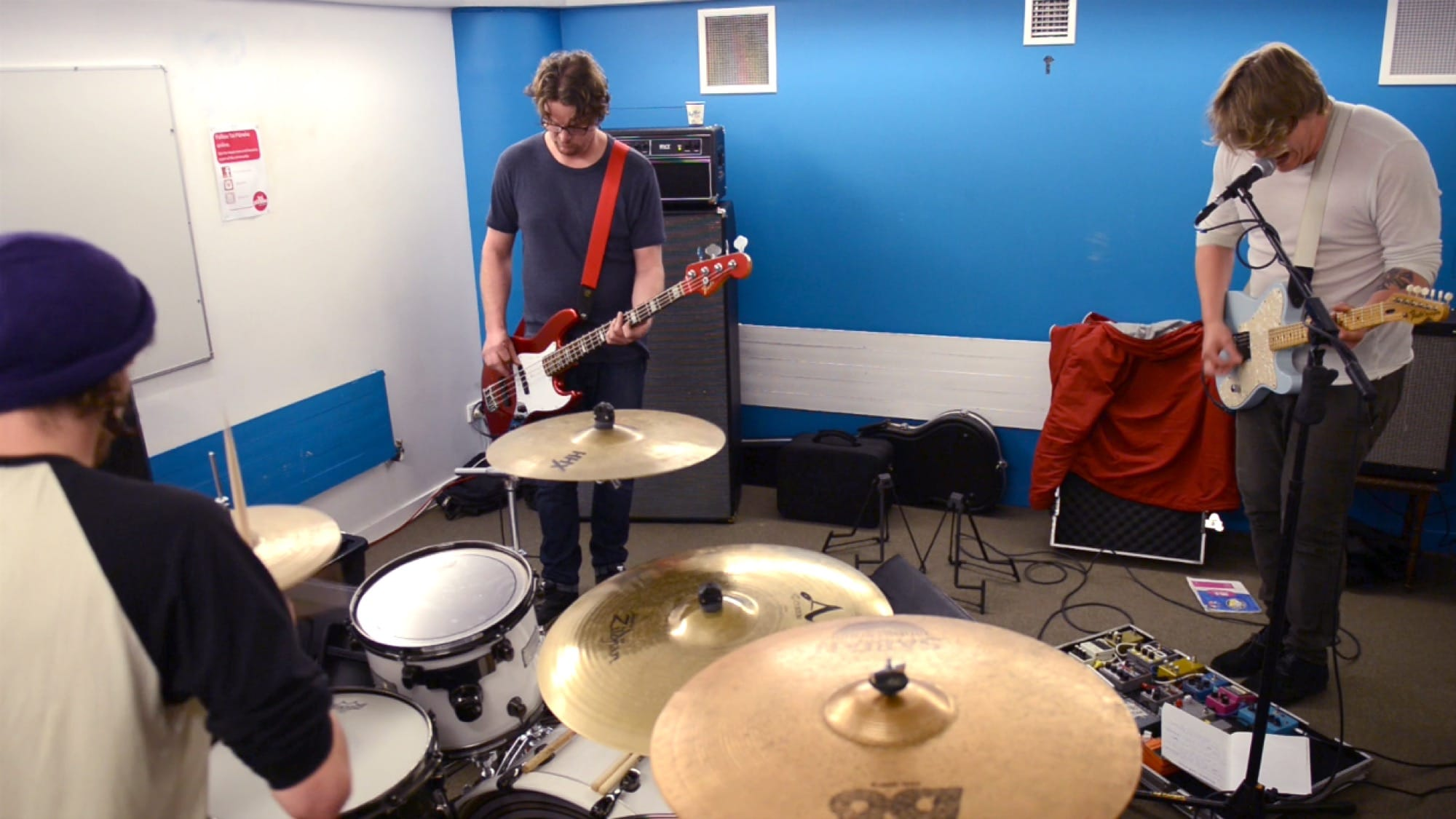 Hollywood Fun Downstairs practising in one of the smaller music studios