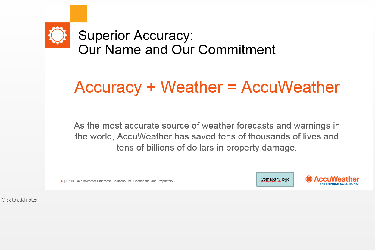 ACCURACY + WEATHER = ACCUWEATHER The old version of this slide - unappealing and plain.