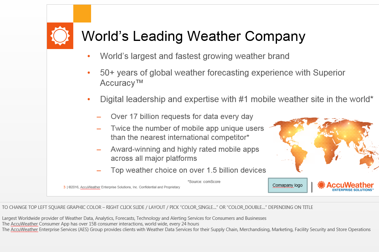 WORLD'S LEADING WEATHER COMPANY Here is an example of how we used to display information regarding AccuWeather's position as the World's Leading Weather Company.