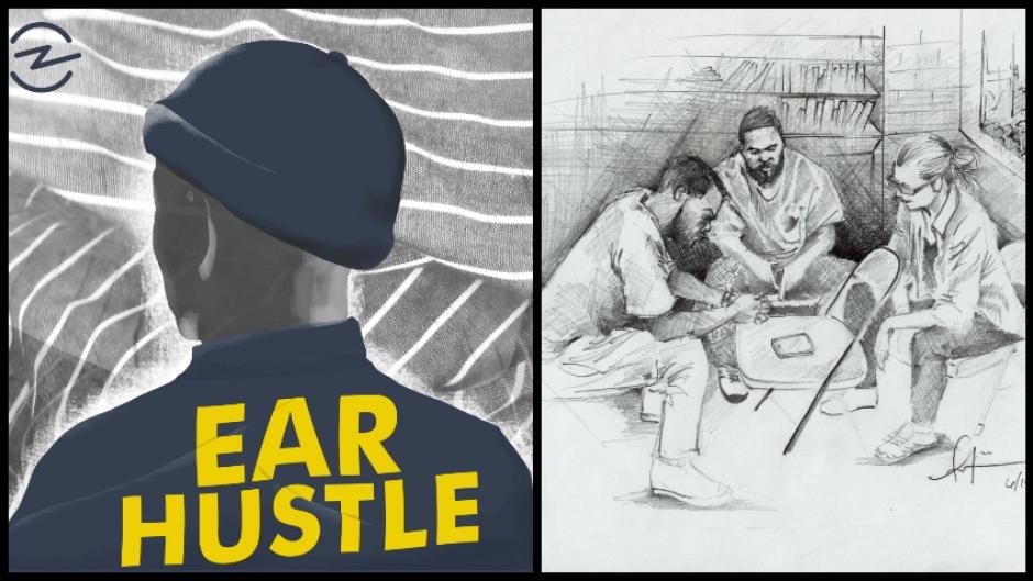 Drawing by Antwan Williams of the Ear Hustle team