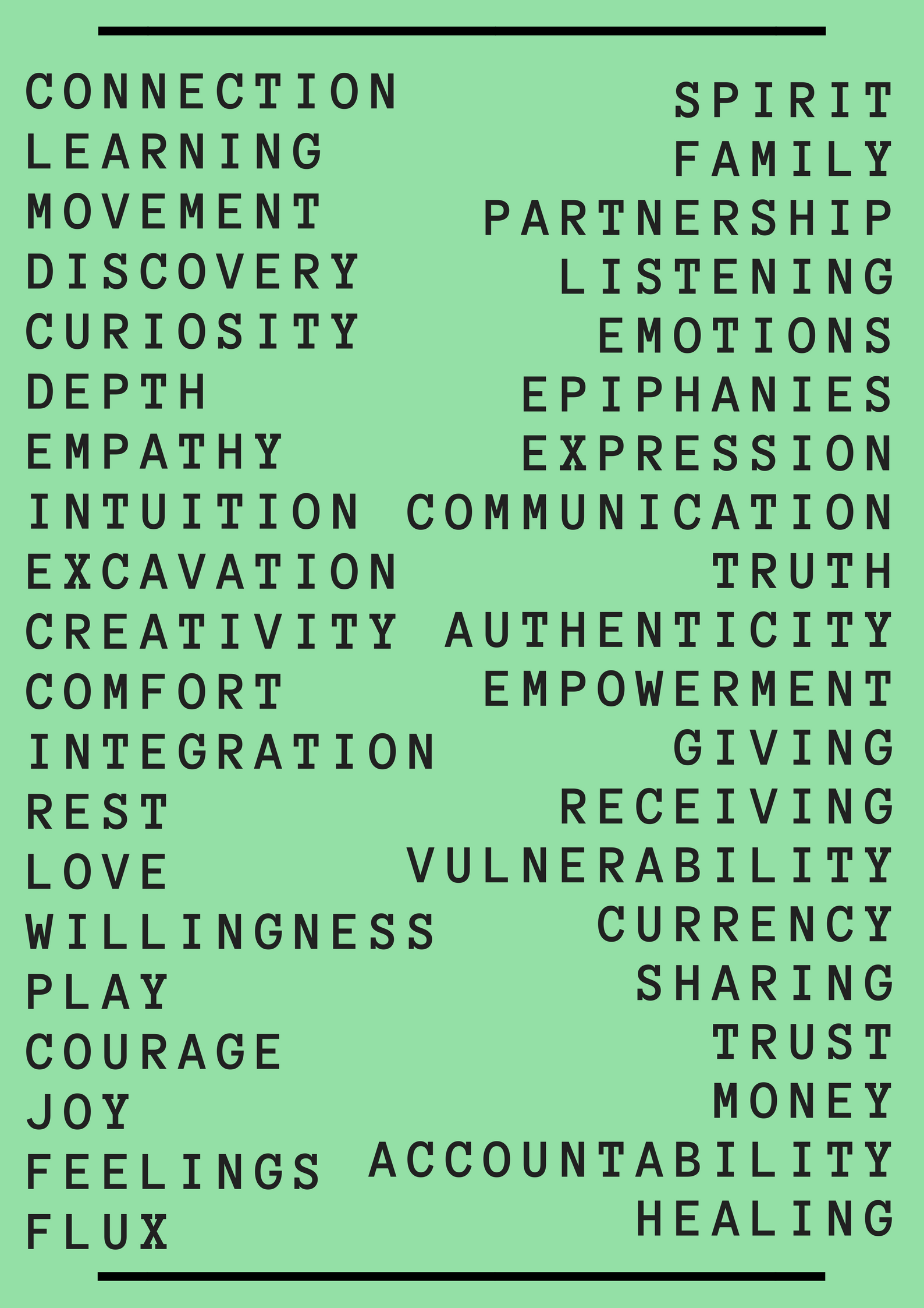My non-exhaustive list of values, 2018