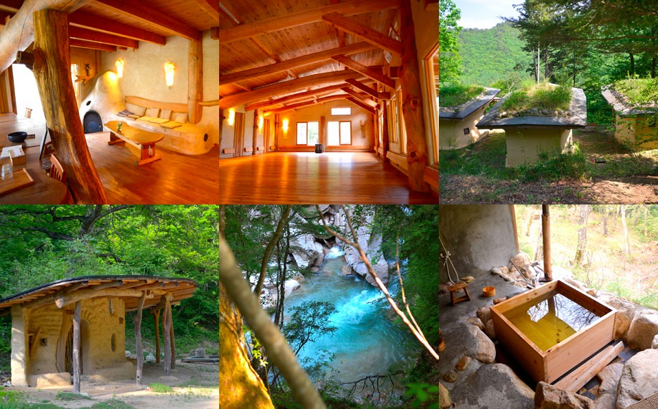 森の中に佇む、長野県の穂高養生園の中でも、メインの施設からは徒歩20分ほど離れた、「森の家」にて集中的にワークを行ないます。