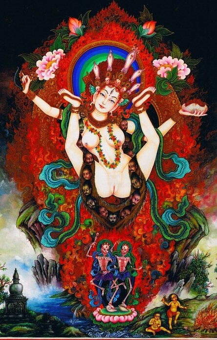 White Sukhasiddhi (Khechari)  With her legs spread wide open and pointed upwards White Khechari blissfully dances amidst the fiery aura of her innate wisdom-awareness, a dakini deity who abides in emptiness. She is youthful, passionate and extremely beautiful, and leans towards the left as she shameless reveals her yoni.