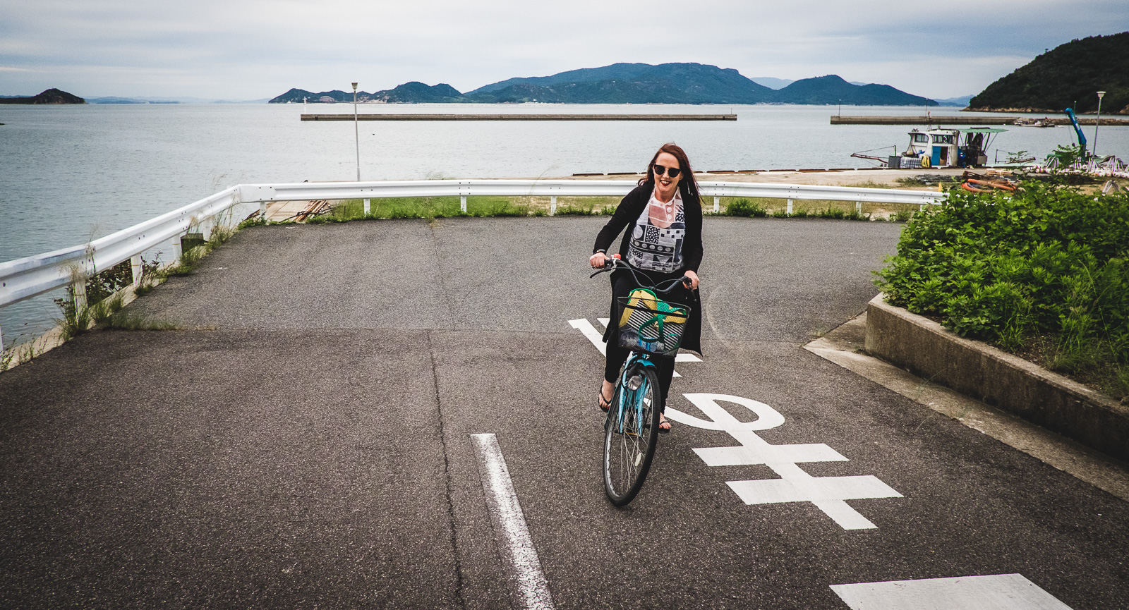 Riding a bike in Naoshima
