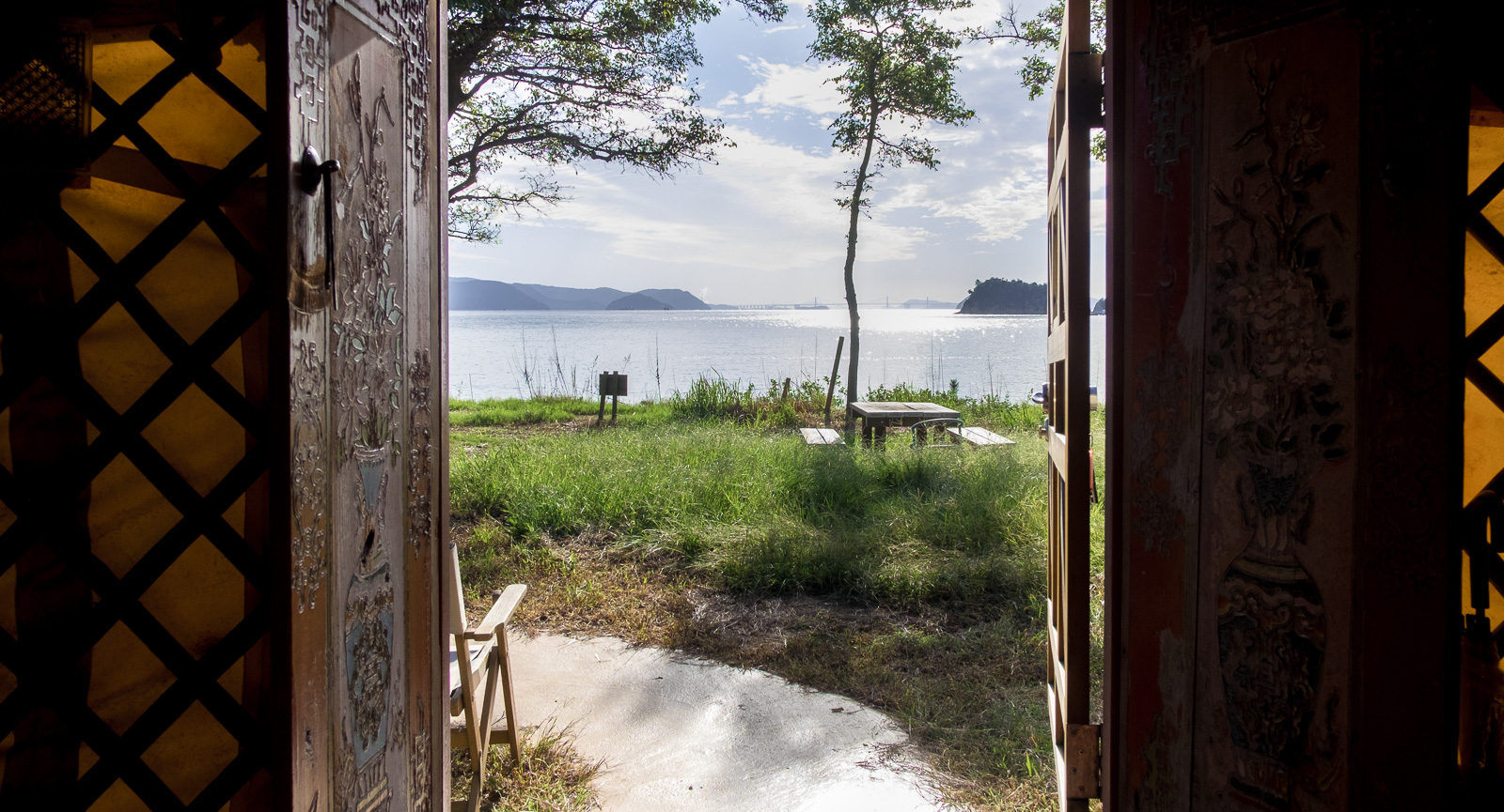 Inside the yurt, Naoshima Island, Tsutsujio Lodge