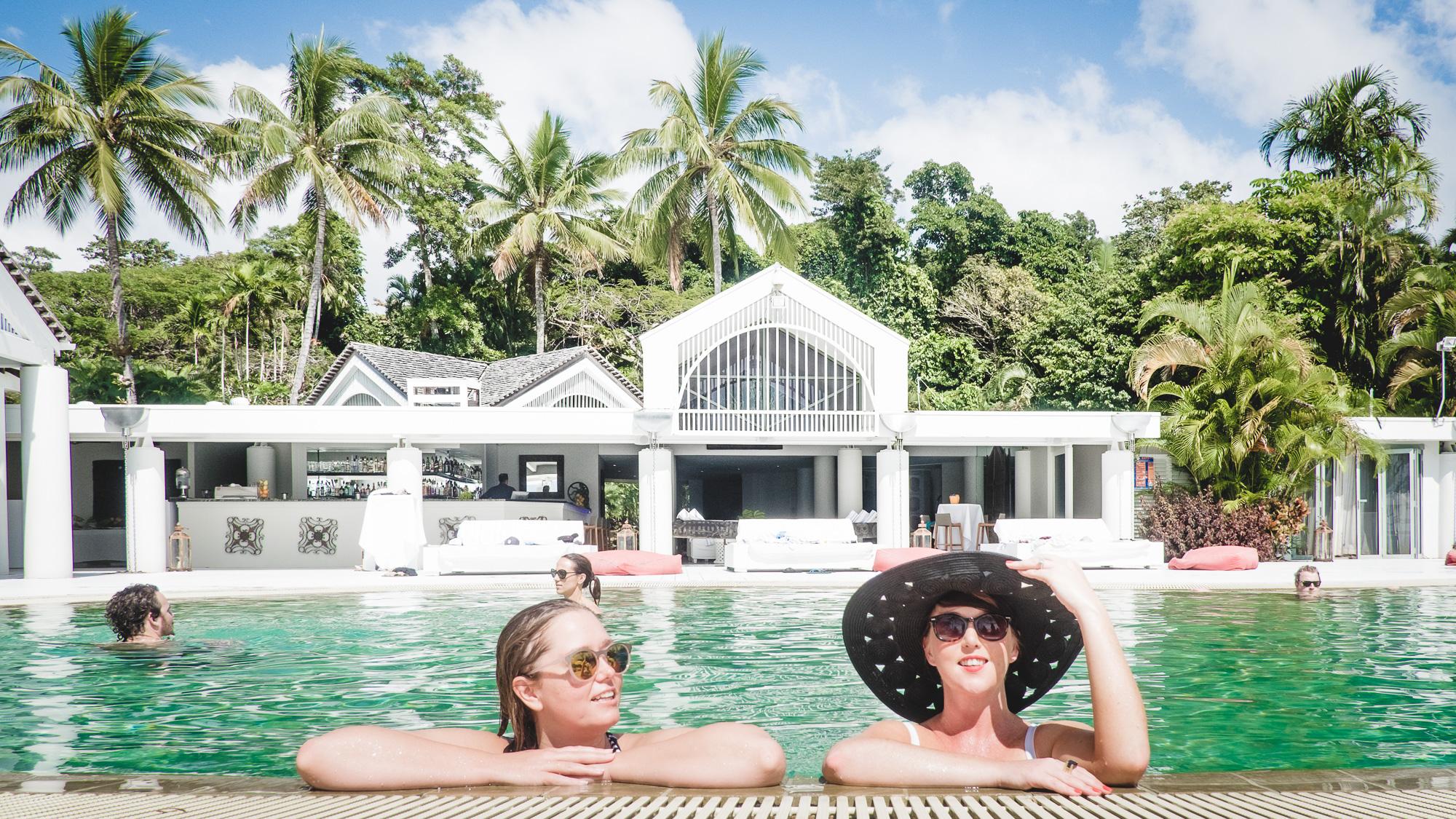 In the pool at Elandra Resort, Mission Beach