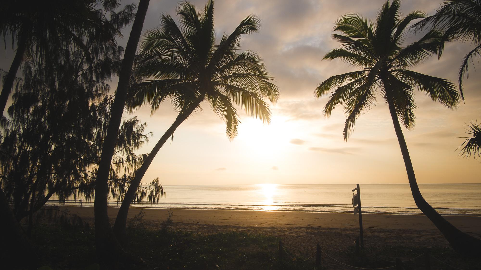 Sunrise at tropical Mission Beach, Castaways Resort, NSW
