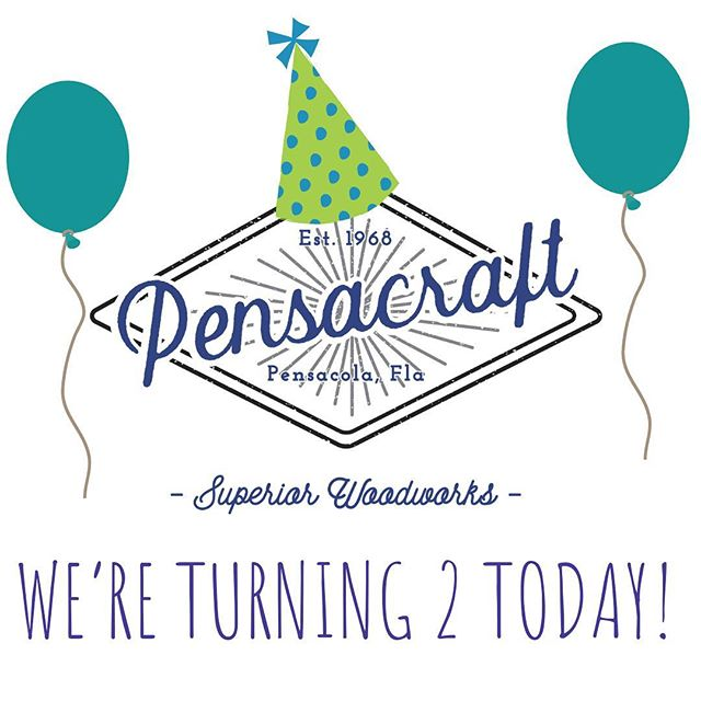 Happy Birthday Pensacraft! We have now been running for two years. Celebrate with us and treat yourself to something custom! We are going to celebrate by taking a nap. Big things are coming! • • • #2years #celebrate #pensacola #woodworking #wood #custom #craftsman #pensacola #onlineorders #contactus #freeconsultations #custommade #local #pensacolamakers #woodworkingskills #downtownpensacola #happycustomers