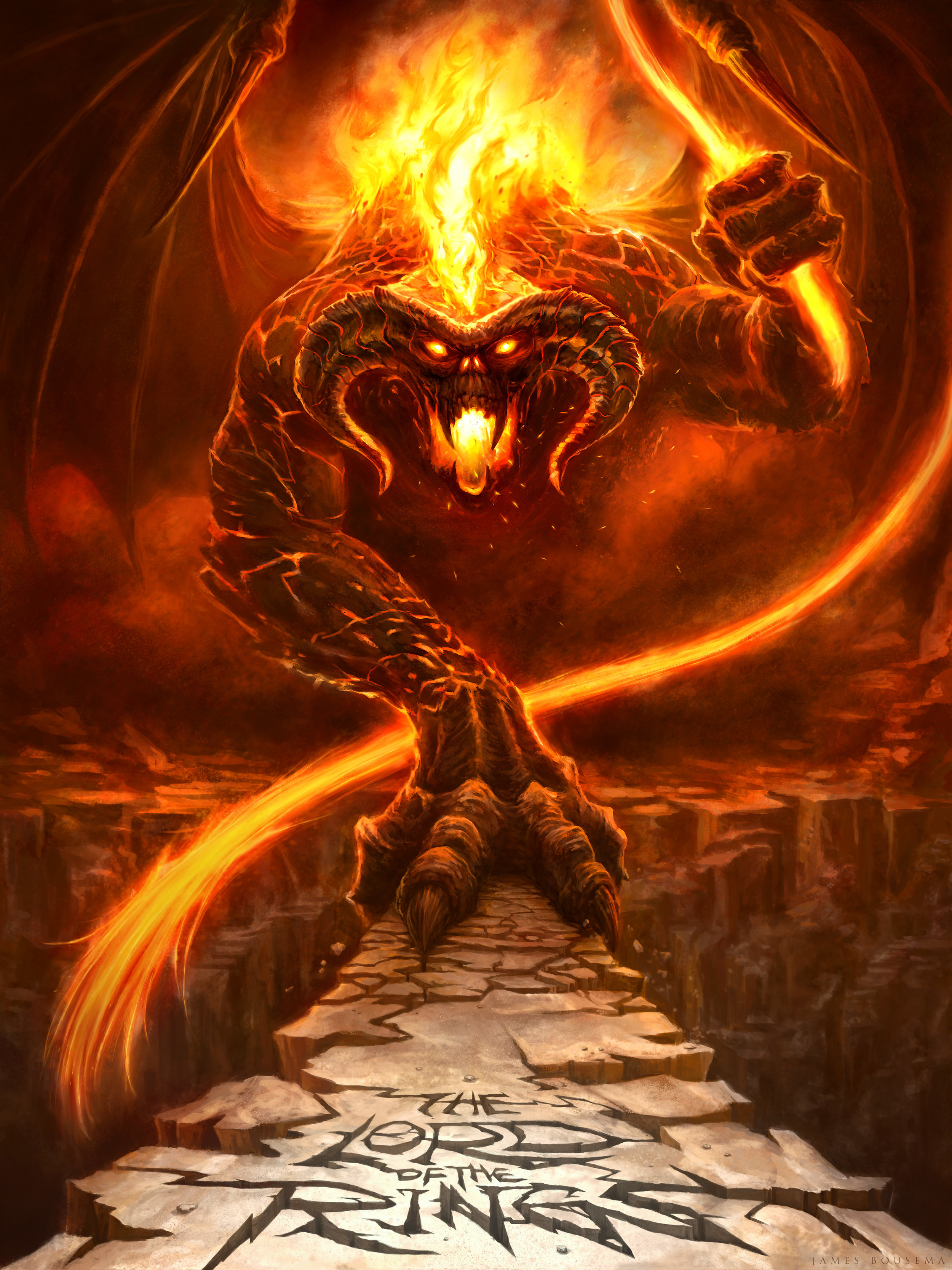 "The Great Balrog of Morgoth dares you to say, ""You Shall Not Pass"" Done in Photoshop CS6"