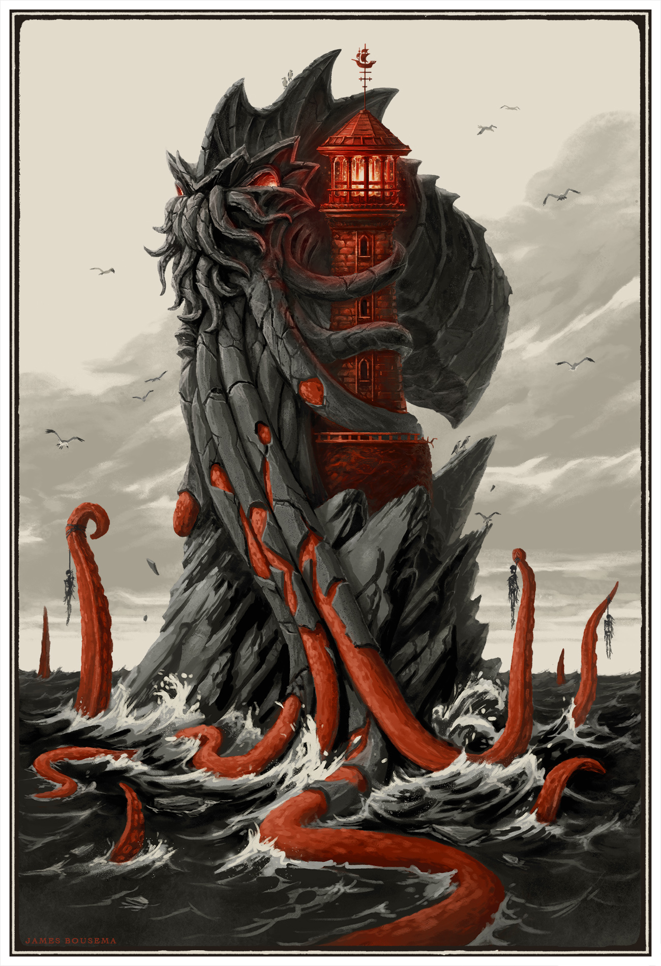Long ago, the great creature from the deep rose to the surface, drawn to the call of the scarlet lighthouse. Bewitched by its light, the creature gradually turned to stone, melding into the lighthouse's edifice until the glowing light ebbed into darkness.      Now, the creature waits only until the light shines again to break free and unleash its power.   Done in Photoshop CS6