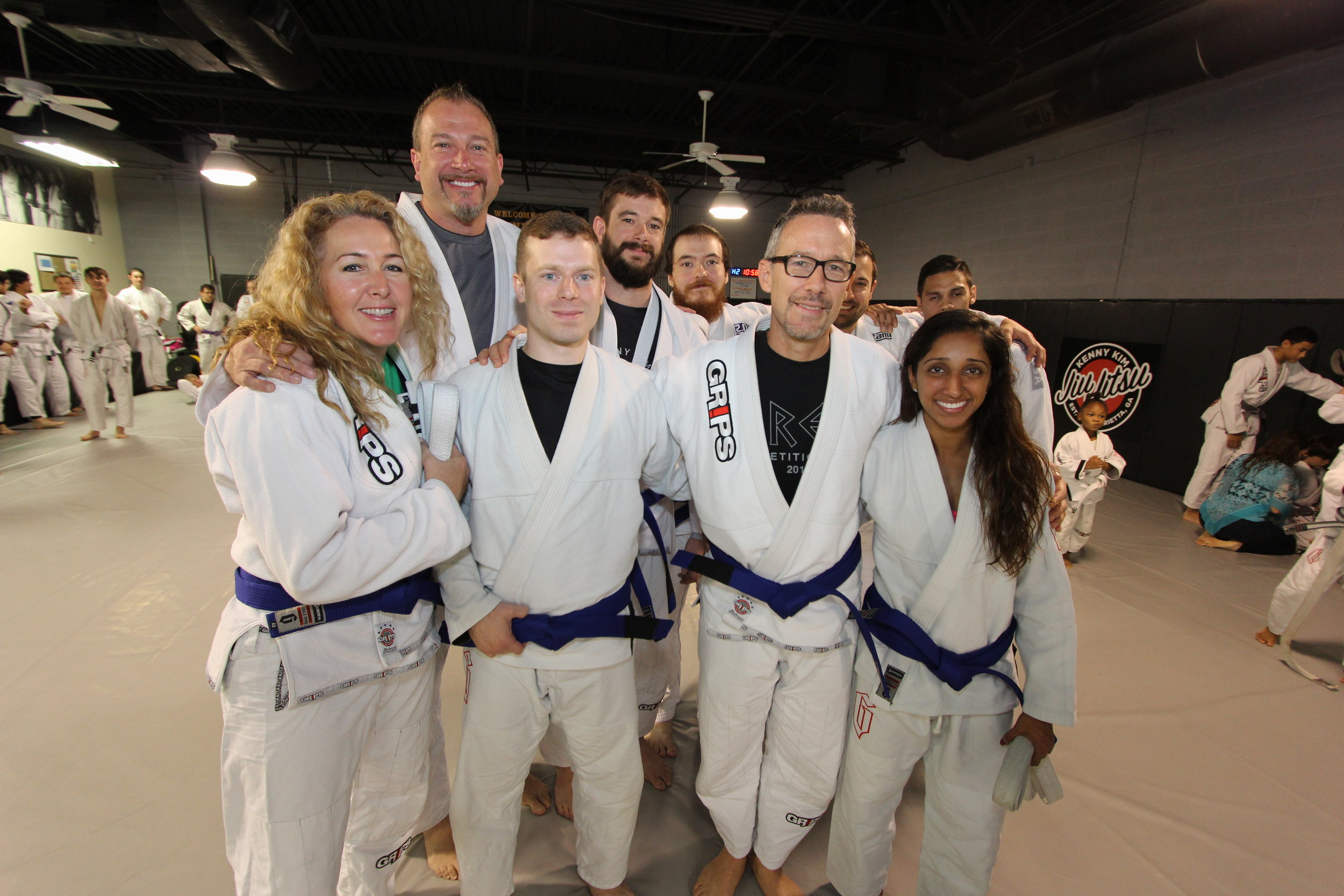 Congrats to Suzanne Martin, Russ Martin, Brandon Foy, Wes Butsch, Justin Hubbard, Alex Kay, and Sherri Dunn on their promotion to Blue Belt and Chris Scott on Purple Belt.