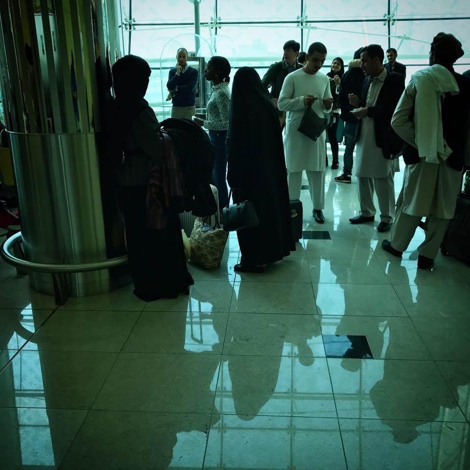 Getting ready to board my last flight-- which would take me to Kabul-- at the airport in Dubai.