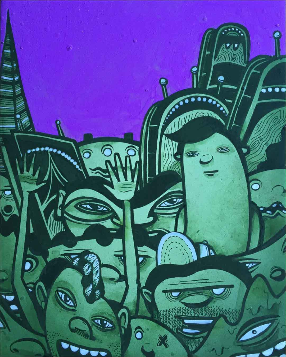 GREEN GUYS IN A PURPLE PLACE