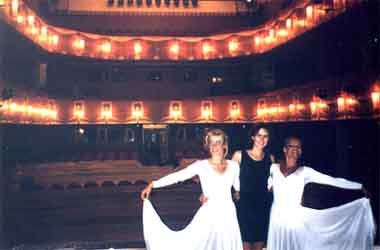 Estonians on stage: Tuulika and Janika Mölder, with Heli Oder