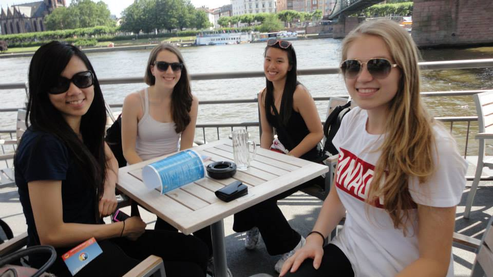 Gymnasts  Sasha Lukashova ,  Esther Chi ,  Emily Cossar  and  Janice Dong  in  Frankfurt Germany .