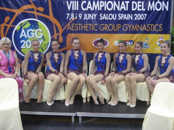 At the AGG World Cup in Salou Spain with Evelyn Koop,  Elsa Sinijärv ,  Carolyn Jennifer , Christina Koop, Jacqueline Graham,  Diana M Kwon ,  Dora Yudeikin  and  Nataliya Murzenko .