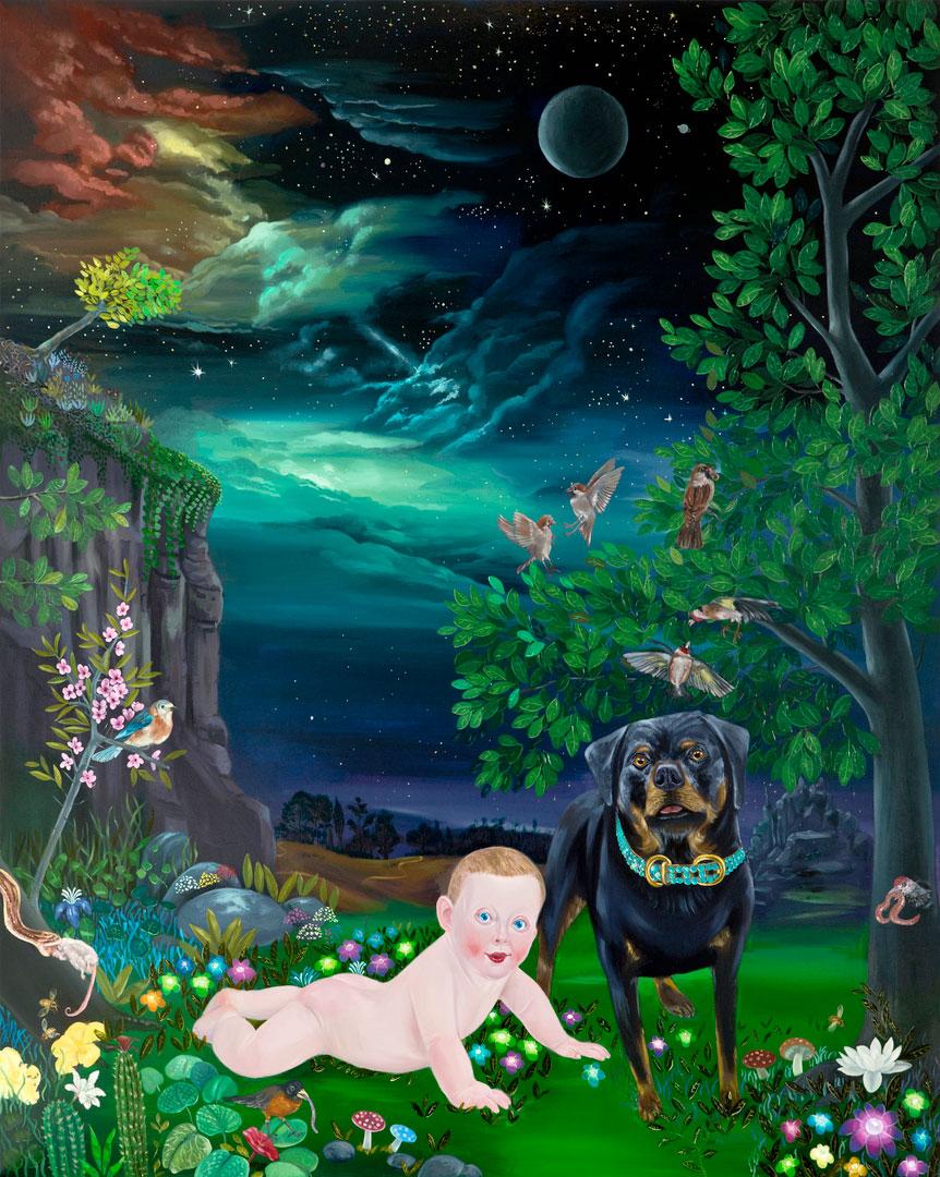Kill Him Make Me Laugh II,200x160cm, oil on canvas, 2014  (Private Collection)