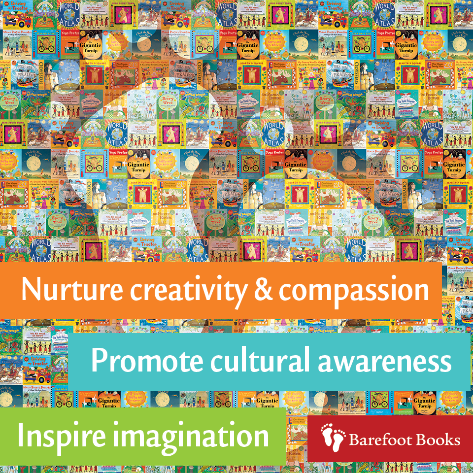 A mosiac background of covers from Barefoot Books and summary of our mission.