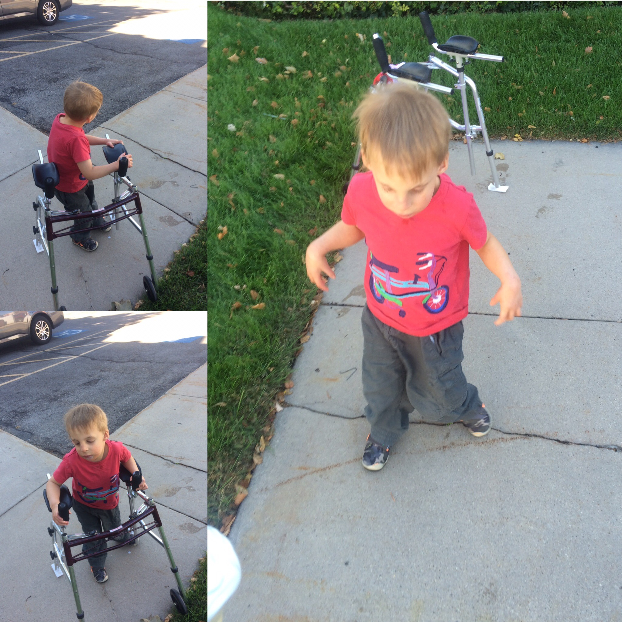 Atticus using his walker for the very last time, September 2016. We donated it to Intensive Physical Therapy Institute, where he'd been receiving phsyical therapy since he was 15 months old.