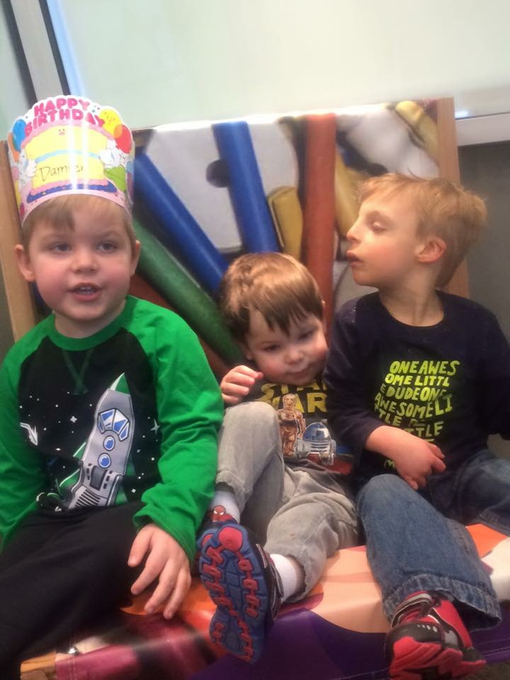 Damien, Everett, and Atticus at the twins' fourth birthday party. I had no idea it would be Atticus's final birthday.