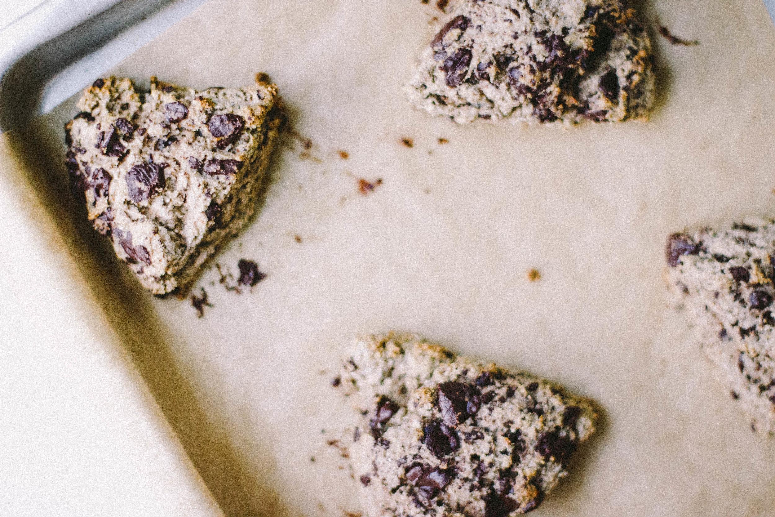 dark chocolate + cardamom rye scones