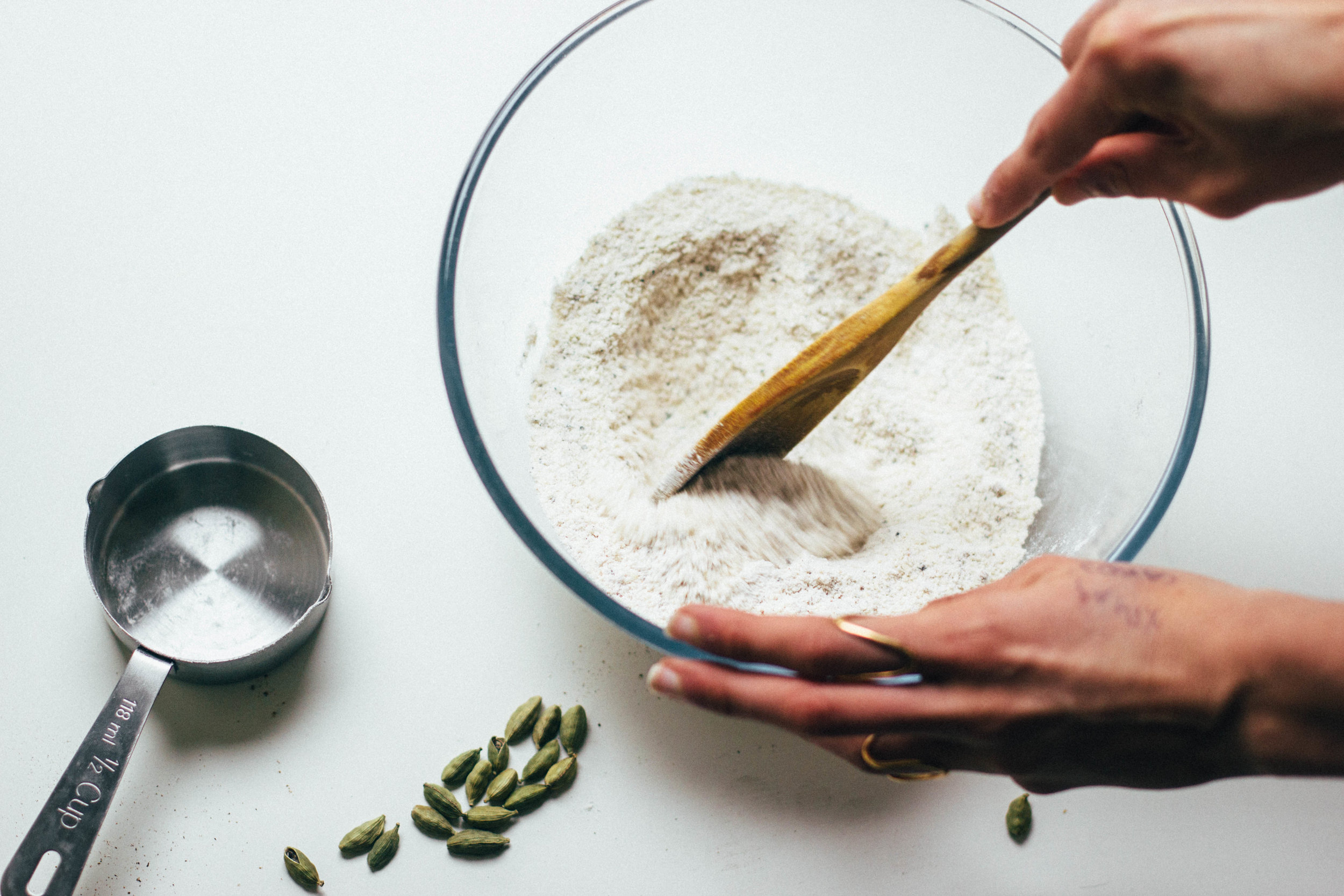 nutmeg and pear  cardamom + pistachio layer cake (gluten free + dairy free)