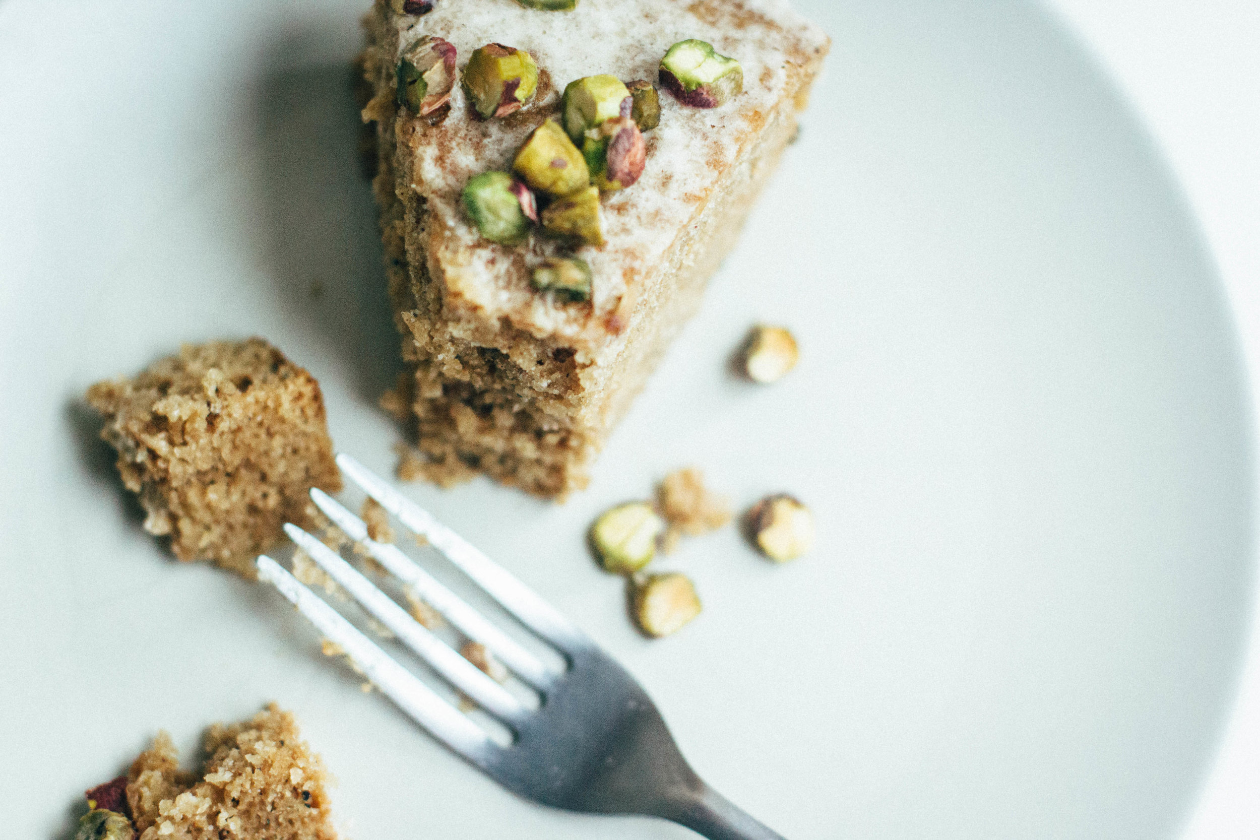 cardamom + pistachio layer cake (gluten free + dairy free)